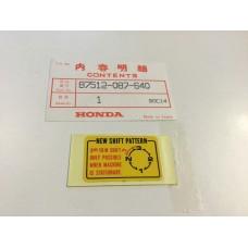 Honda c90 c70 label, shift pattern 87512-087-640